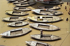 Varanasi Boats (marcwiz2012) Tags: wood people india water river boat wooden asia pattern transport symmetry fromabove scan varanasi local localpeople