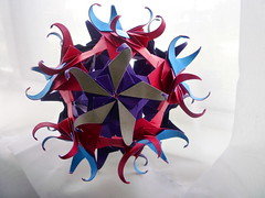 Crab (Zapper Slapper) Tags: pink blue art dark paper grey star origami purple handmade tag fuchsia craft crab double curly modular reverse paperfolding engineered artisan folding handcraft sided kusudama
