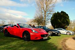 Three Beauties (ANB | Automotive) Tags: california red breakfast silver hall martin ferrari driver jaguar meet supercar aston scd db9 xkr 2014 langar