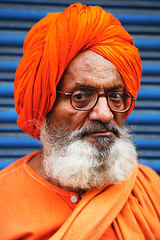 Orange (Marc Ressang) Tags: street blue portrait orange india man contrast asia bombay mumbai