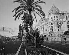Nice, France: Promenade des Anglais and the Hotel Negresco #2 (wanderingYew2) Tags: blackandwhite france 120 mamiya film mediumformat nizza filmscan nicefrance frenchriviera promenadedesanglais blackandwhitefilm mamiya7ii hotelnegresco