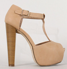 "leatherette buckle t strap peep toe nude • <a style=""font-size:0.8em;"" href=""http://www.flickr.com/photos/64360322@N06/16164202230/"" target=""_blank"">View on Flickr</a>"