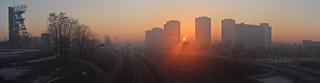 Katowice - the rising sun huge panorama
