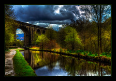 The Viaduct (Kevin Walker Digital Artist) Tags: bridge trees england building water beautiful architecture canal village historical towpath waterways saddleworth canon1855mm greatermanchester uppermill huddersfieldnarrowcanal kevinwalker canon1100d