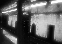 Crusty Bowery (mheidelberger2000) Tags: city nyc newyorkcity light urban blackandwhite monochrome station train underground subway tile experimental metro decay manhattan lowereastside dirty transit bowery infrastructure mta helvetica aging jtrain lowermanhattan abanonded ztrain bmtnassauline