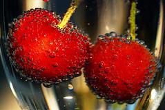 cherries and bubbles (johnsinclair8888) Tags: morning sunlight macro cherries focus dof earlymorning sigma bubbles seltzer sigma105 clubsoda macromondays nikon750