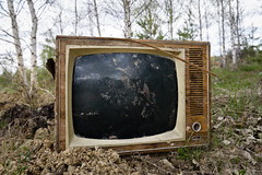 Old analog discarded television set in the forest (papulov74) Tags: old summer color abandoned broken nature grass television set analog trash forest vintage wooden tv moss garbage woods junk technology view display outdoor object tube style sunny screen dirty retro monitor equipment pollution blank broadcasting worn rubbish environment weathered analogue waste dust discarded damaged visual scrap channel obsolete fashioned hummock