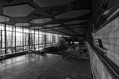 (The New Motive Power) Tags: city urban blackandwhite station architecture modern train sofia perspective bulgaria concourse brutalist centralrailwaystation   canon7d