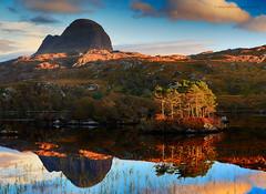 Highland Reflections (calderdalefoto) Tags: uk mountain reflection sunshine scotland highlands northwest britain loch sutherland lochinver suilven scotspine