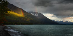 Lightscale (Brian Truono Photography) Tags: trees light sunset sky lake snow mountains reflection beach scale nature water colors rain alaska clouds landscape rainbow spectrum nationalforest valley peaks hdr highdynamicrange glacial chugach exposureblending gamut