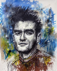 """This Charming Man"" Mixed media on canvas 25 x 31"" comissioned by Julio Blanco (Acamonchi) Tags: illustration painting vegan rockstar morrissey smiths moz thesmiths crosshatching mozz acamonchi charmingman"