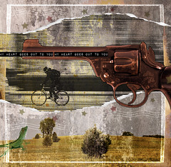 Under the Gun no.318 (dek dav) Tags: music color bike rock collage digital photoshop paper print idea photo words lyrics mixed media gun ride image song surrealism album under creative surreal manipulation run pop kristin muses da indie type concept scraps conceptual throwing photomanip hersh papercraft