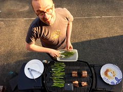 Watching @beep grill up some asparagus and short ribs.