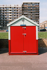 Brighton My Day (pp agrippa) Tags: red england film sussex analogue beachhuts 45mm planar carlzeiss contaxg1 brightonandhove portra160 realraw