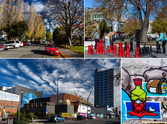 Postcard from Christchurch (Jocey K) Tags: street autumn trees newzealand christchurch sky people streetart cars collage architecture clouds chess cranes cbd rebuild