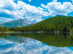 Take Time to Reflect. (thecheetahexpress) Tags: bear park trees mountain lake mountains reflections colorado skies rocky national estes absolutelystunningscapes