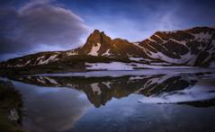 Landscape (genadidochev) Tags: travel blue sunset sky mountain reflection clouds landscape high outdoor peak late pak toursim