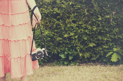 The Places We'll See (flashfix) Tags: june042016 2016 2016inphotos nikon d7000 ottawa ontario canada 40mm vintage classic camera girl woman portrait filmcamera plants hand skirt newtome selfportrait garagesalegold soft flashfix flashfixphotography