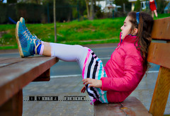 pink history (Igor-Titz) Tags: pink cute green beautiful face rock bench hair table outdoors hands shoes gesicht sitting child emotion rosa bank skirt kind grn tisch mdchen hnde niedlich settle tafel   schn   sitzt