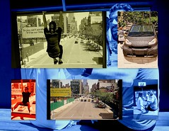 Hanging Out On The High-Line (nrhodesphotos(the_eye_of_the_moment)) Tags: collage theeyeofthemoment21gmailcom wwwflickrcomphotostheeyeofthemoment highline manhattan nyc vintage people men women autos perspective sightseeing tourist art creative rubber plantlife hanging signs buildings photoborder outdoor transportation billboards selfy