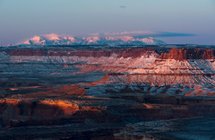 The Masquerade is Over (courtney_meier) Tags: morning winter snow sunrise dawn morninglight utah nationalpark desert canyonlandsnationalpark canyonlands redrock nationalparks magichour alpenglow usnationalparks redrockcountry henrymountains