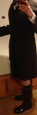 raincoat and shiny black wellies
