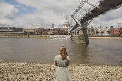 Bankside (Sarah-Louise Burns) Tags: blue summer sky london water girl fashion thames vintage river boat waves dress cathedral south stpauls style bank millenniumbridge southbank blonde bankside