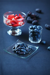 Berries (iuda) Tags: blue summer stilllife food season strawberry berry berries blackberry natural professional blueberry organic honeysuckle foodphoto bilberry foodphotography