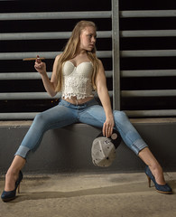 Kathy K (Benjamin-Sehl) Tags: hot sexy girl women smoking jeans shooting