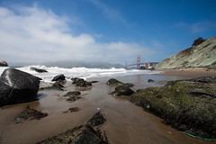 Pacific Ocean in San Francisco (Andersson Högholm Photography) Tags: ocean sanfrancisco california travel bridge usa beach canon golden gate rocks waves windy goldengate 1740mm
