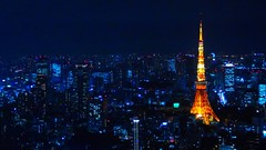 Sparkling night (unlimited inspirations) Tags: travel blue friends light orange building tower love japan skyline architecture night gold tokyo asia flickr lg tokyotower roppongi roppongihills sparkling obervationdeck unlimitedinspirations