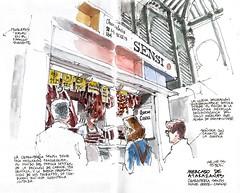 Mlaga, charcutera Sensi (Luis_Ruiz) Tags: de sketch spain market drawing main sketchbook mercado andalusia dibujo malaga sensi atarazanas charcuteria urbansketchers stillmanbirn