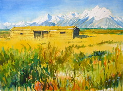 Teton Cabin (Gail T. Cosby) Tags: mountains watercolor painting landscape cabin cunningham tetons