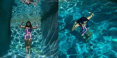 Renee: Muscles (kozyndan) Tags: california woman usa water pool girl swim model underwater americanflag renee swimsuit bathingsuit hollywoodhills bathers blackmilk