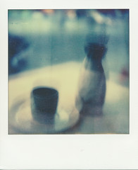Sake! (Ephemeral Odyssey) Tags: blue blur drunk project polaroid japanese movement drink plate sake alcohol integral impossible
