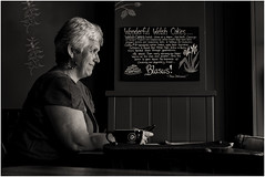 Welsh Cakes Make You Smile (Canonac) Tags: blackandwhite blancoynegro monochrome women coffeeshops blancetnoir