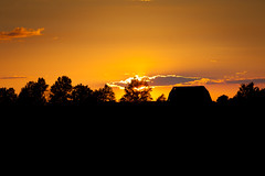 silhouette (fensterbme) Tags: road travel sunset ohio sky orange field clouds barn rural landscape evening unitedstates personal dusk farm celina roadtrip telephoto telephonepole neptune telephotolens canon70200mm canon70200mmf28lis canon5dmkii