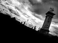 B&W 7 (Amaury LE HESRAN) Tags: bridge blackandwhite paris france monument contrast noiretblanc sombre contraste pont a5 francia iledefrance patrimoine pontalexandre3