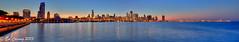 Chicago_Pan1 (Godspeed70) Tags: city sunset sky usa lake chicago color water skyline canon eos illinois dusk milleniumpark lakemichigan navypier 6d willistower