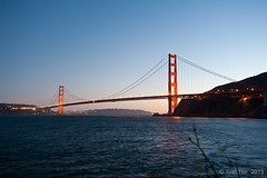 The Golden Gate Bridge (Thru-My-Lens) Tags: sanfrancisco california bridge sea moon seascape twilight unitedstates windy september adventure goldengate horseshoebay sausalito westcoast goldenhour surfs 2013