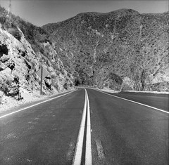 Angeles Crest Highway Kodak Beau Brownie (Digital Film Photography) Tags: california road camera old trees white mountain black mountains history gabriel 120 film nature forest vintage photography highway san driving mt angeles kodak box scenic delta crest historic mount national and wilson brownie epson medium format 100 v600 pasadena ilford beau mtwilson