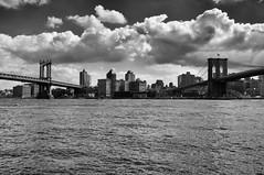 Two Bridges (The West Back Line) Tags: nyc newyorkcity bridge bw newyork zeiss blackwhite sony bridges brooklynbridge manhattanbridge nex nex6 zeiss24mm