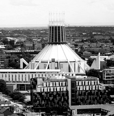 Metropolitan Cathedral Of Christ The King, Liverpool I (Twizzer88) Tags: uk greatbritain england bw church architecture liverpool religious catholic view cathedral unitedkingdom britain religion modernism lancashire christian vista christianity catholicism modernist merseyside metropolitancathedral metropolitancathedralofchristtheking