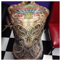 Started color on Ian's backpiece 16 hours so far #ufo #ancientaliens #alienabduction #alienskull #backpiece #neotat #jimihendrixufo