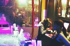 The Moon (JacquelineEliza) Tags: girls party portrait woman beer girl bar club portraits canon women neon purple liquor bartender bartenders willienelson themoon canon60d vsco