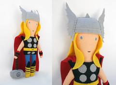 THOR (eleni creative) Tags: red hammer modern kirby doll god felt cape thor marvel legend rag ragdoll avengers