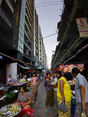 Market Alley (John_de_Souza) Tags: street travel panorama food color colour shopping women colorful market yangon streetportrait fresh myanmar colourful crowded streetmarket bustling myanmartravel streetpanorama spotlightonasia zeisssal2470 sonya7r myanmarimages johndesouzamarketalley