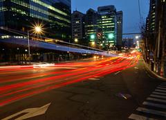Gangnam Rush Hour (mswan777) Tags: world city travel color sunrise nikon exposure traffic korea seoul gangnam d5100