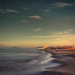 The fisherman ({heruman}) Tags: sunset sea color beach square fisherman sand nikon 24mm f28 1x1 d600 soulscapes
