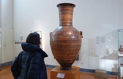 Beth viewing the Dipylon Amphora, c. 755-750 B.C.E.